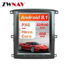 PX6 4GB RAM Tesla stijl Android 8.1 Auto GPS Navigatie Voor TOYOTA LAND CRUISER LC100 03 head unit multimedia radio tape recorder(China)
