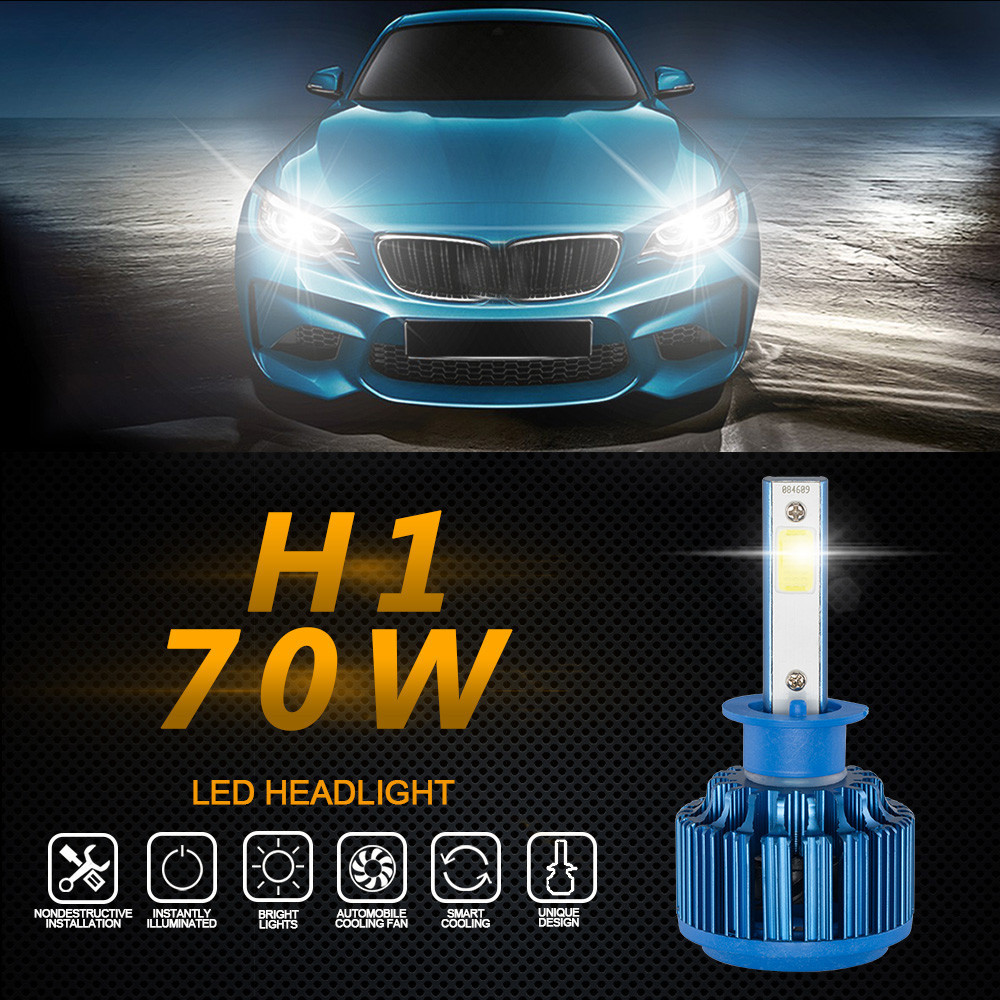 Car light 2PC H1 70W 8000LM  Car COB LED Headlight Kit Beam Bulbs 6000K High Power Bulb Light Lamp  #0807 1pair dc9 36v h1 cob 160w 8000lm led headlight kit lights beam bulbs 6000k external lights