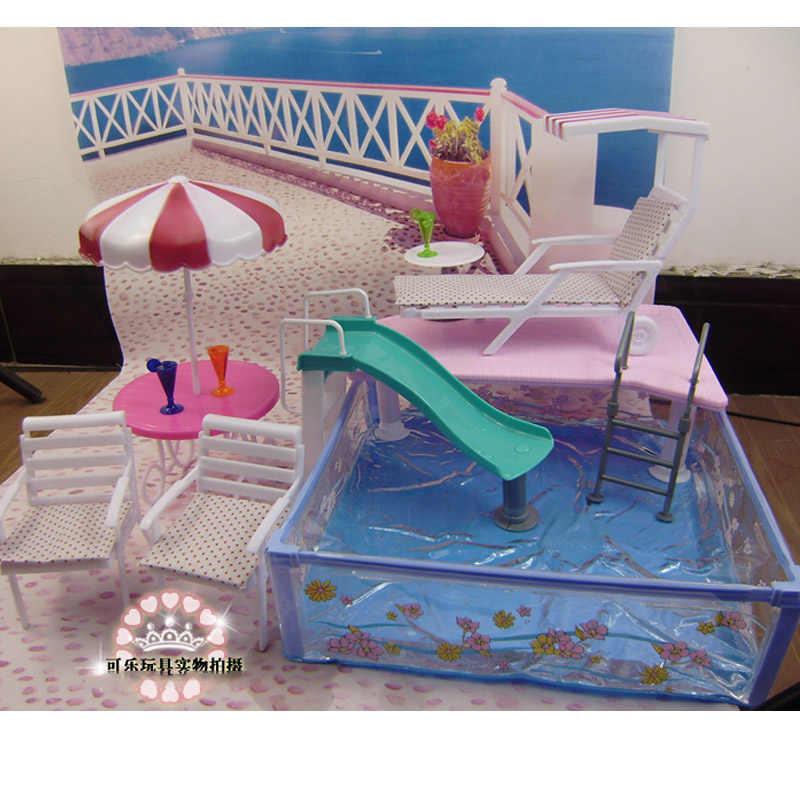 Для Барби кукольная мебель, аксессуары игрушка летний плавательный складная лестница шезлонг сад днем Чай вид, праздничный подарок