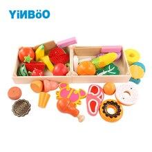 Деревянные кухонные игрушки для детей, разделочные фрукты, овощи, миниатюрные деревянные детские Игрушки для раннего образования, игрушки для девочек и мальчиков