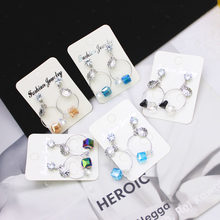 Shiny Side New Women's Fashion Brand Jewelry Crystal Beads Stud Earrings for Women Gift Cute Summer Style Earrings(China)