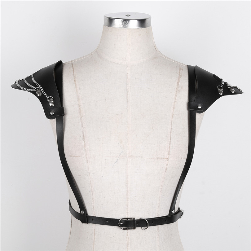 iEFiEL Fashion Faux Leather Women Adjustable Body Chest Harness Belt with Shoulder Pads/6 Metal O-rings Bondage Belt Harness