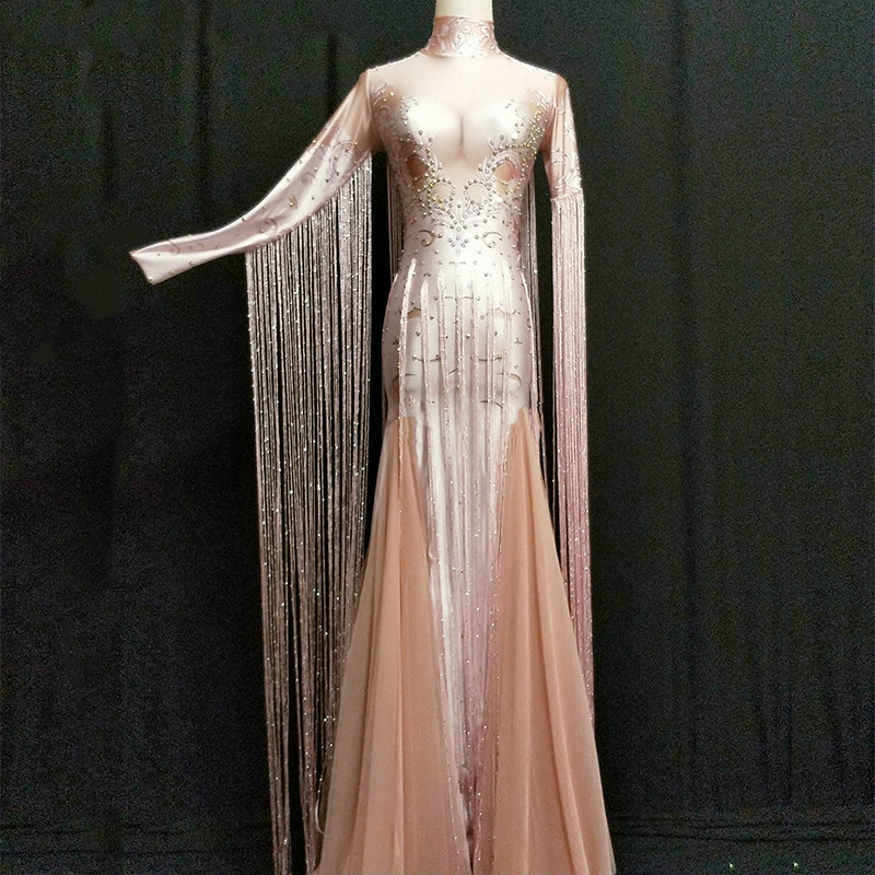 Women Sexy Stage Tassel Pink Long Dress Sparkling Rhinestone Women Costume Nightclub Party Singer Dancer Performance