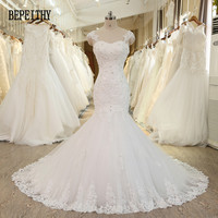BEPEITHY Real Photo Robe De Mariage Lace Vestido De Novias Vintage Bridal Dresses Mermaid Lace Wedding Dress 2019