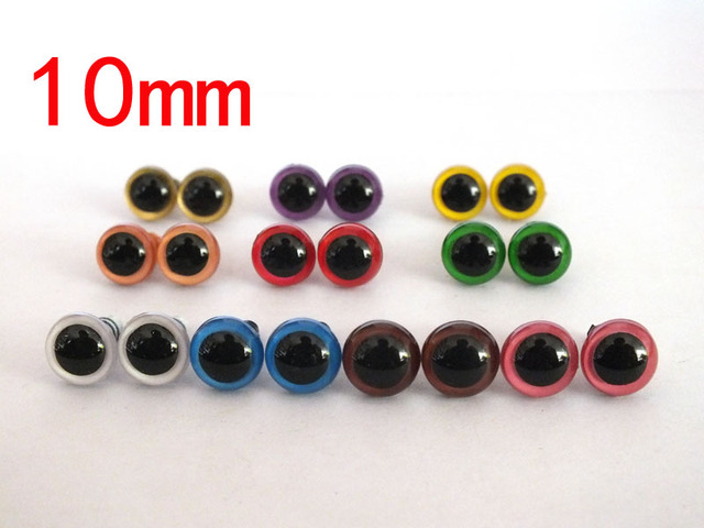 free shipping!!! 100pcs/lot 10mm Non-toxic safety eyes bear eyes with washer top quality 10 color , mixed color toy eyes