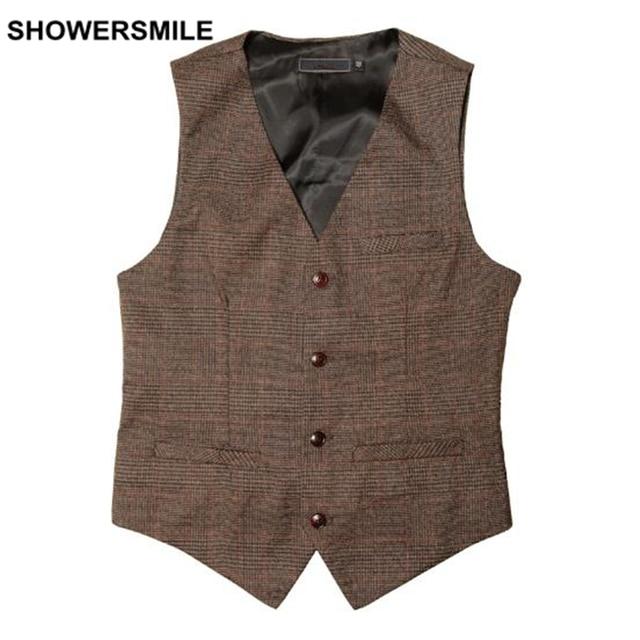 Mens Casual Vests Plaid V Neck Wedding Suit Vest Spring Outerwear Waistcoat 4 Button Sleeveless Jacket Vintage Erkek Yelek
