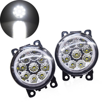 Wooeight 2Pcs Right + Left Round Front 55W 9 LED Fog Lamp DRL Daytime Running Driving Light 4F9Z 15200 AA for Ford Focus Honda