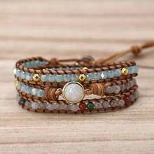 2019 Unique Quality Women Bracelets Natural Opal Stone Rhinestone 3 Rows Leather Wrap Bracelet Fancy Femme Boho Bracelets(China)