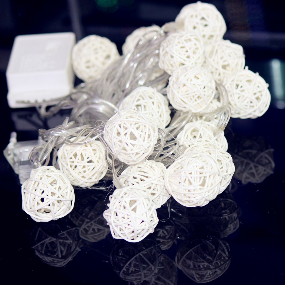 Sepa Takraw Light Ambient Lighting Outdoor String Patio Garden Rope Warm White  Mulit Color 20 Lamps Rattan