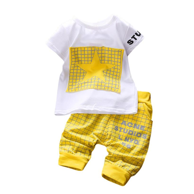 2Pcs Infant Kid Boys Girl Letter Star Print Plaid Tops+Pants Outfits Clothes Set 0511