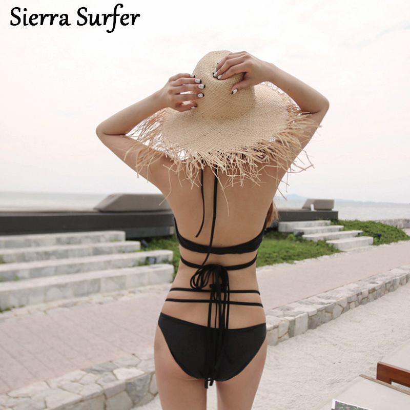 Retro Bikini Set Top Mujer Vrouwen Beach Wear Cheap Sexy Bathing Suits 2018 Korea New Black Female Swimsuit Halter Bandage one piece swimsuit cheap sexy bathing suits may beach girls plus size swimwear 2017 new korean shiny lace halter badpakken