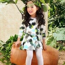 2016 весной 3 4 5 6 7 8 9 10 12 лет ананас фрукты pattern 100% хлопок капюшоном и юбка chirldren девушка комплектов одежды