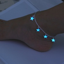 Luminous European and American beach wind blue pentagonal star tassel ankle chain luminous bracelet ornament