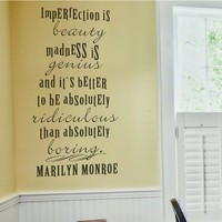 Marilyn Monroe Quote - Imperfection is Beauty Vinyl Wall Decal Fashion Wall Sticker Home Decor 43
