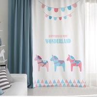 Draw Grommet Window Draperies Blackout Curtain for Nursery Kids Children Room 145cm x 180cm 220cm 240cm 270cm Horses White Blue