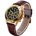 OUYAWEI Men New Design Gold Case Dial  Mechanical Watch 6 Hands Luxury army Brown Leather Clock reloj hombre Wristwatch