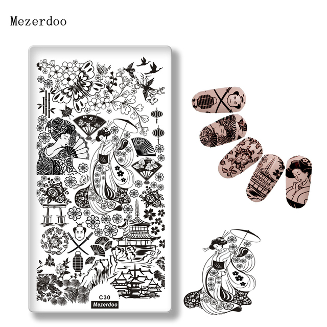 Japanese Series Nail Template Petty Girl Warrior Fashion Style Stamping Plate Cherry Butterfly Pattern Fan Design