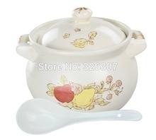 цена на Chinese 3.5L 3KGS ceramic sand pot cookware stock porridge earthen pot saucepan marmite stew soup tureen casserole