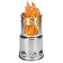 LIXADA Portable extérieur poêle à bois Camping pliant batterie de cuisine poêle à bois brûlant pour sac à dos survie cuisson pique nique chasse