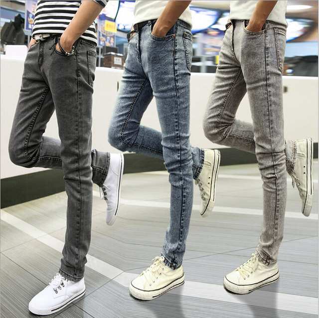spring men jeans skinny slim fit jean men pants elastic. Black Bedroom Furniture Sets. Home Design Ideas