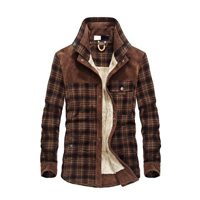2019 nueva primavera otoño polar hombres chaqueta de invierno a cuadros chaqueta de botón clásico M-3XL