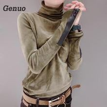 Genuo 2018 Woman Solid Cotton Sweaters New Fashion Spring Korean Long Sleeve Pullover Half Turtleneck Short Velvet Sweater Top