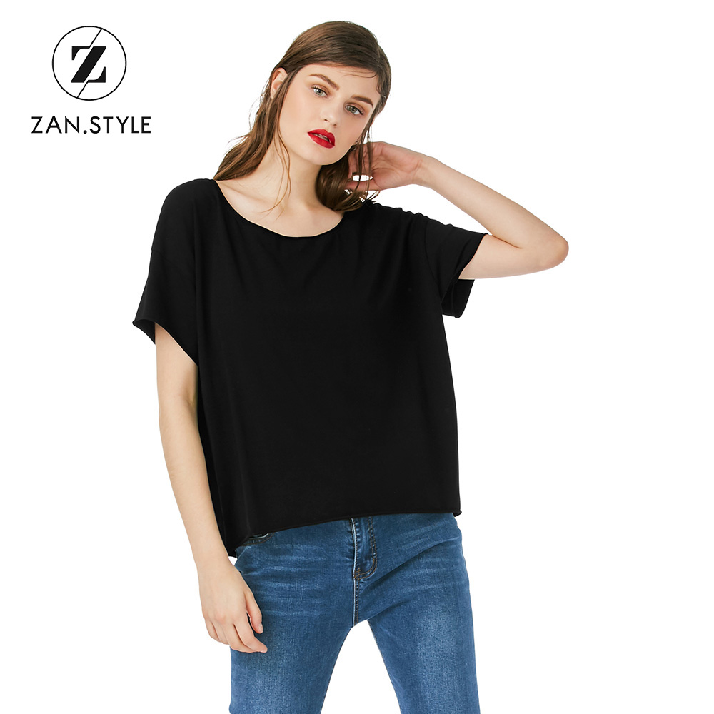 Black t shirt style - Style Harajuku New Cotton Women T Shirt Solid Black Loose Girls Shirt Tee Tops