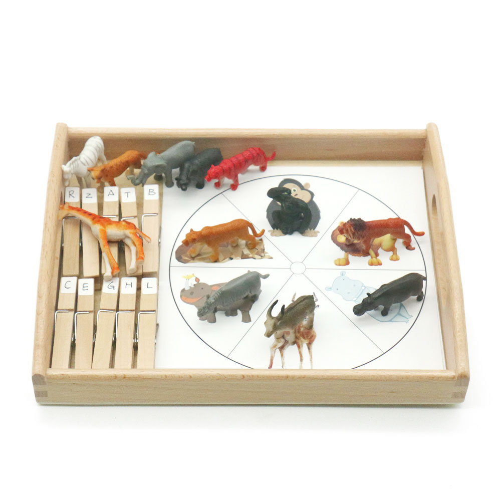 Montessori Animal Cards Clip Set With Tray Words Learning Material Preschool Educational Toys Juguetes Montessori MC0864H