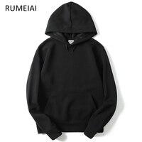 RUMEIAI 2017 New Brand Hoodie Streetwear Hip Hop Red Black Gray Pink Hooded Hoody Mens Hoodies