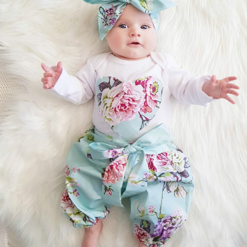 2018 Autumn Newborn Baby Girl Clothes Long sleeve Tops T-shirt+Floral Pants+Head band Toddler baby boy girl 3pcs Outfit Set 3pcs 2018 fashion baby girls clothes set long sleeve flower t shirt pants headband newborn infant baby girl toddler clothing set
