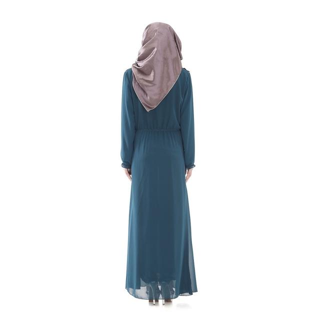 Women's Muslim Maxi Long Dress Abaya Islamic Long Sleeve Chiffon Dress K88