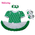 St Patrick Day Baby Clothing White Dot Green Bodysuit Tutu Dresses Girl Ruffled Dress Baby Clover  Newborn Party Clothes