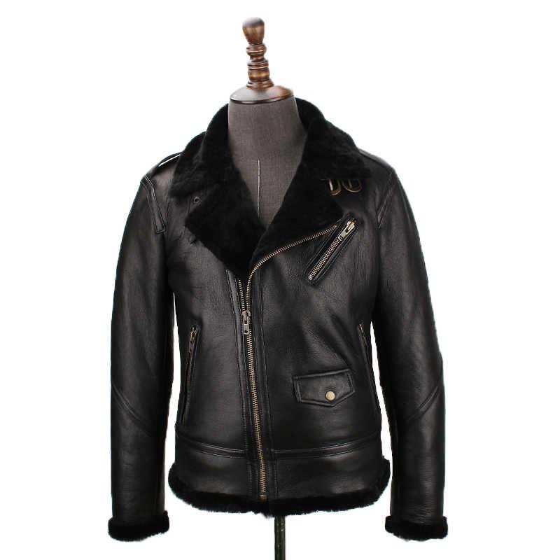 Бесплатная доставка. Продажа мужской овчины. Мужская куртка из натуральной кожи. Моторная Байкерская овечья шуба, зимняя теплая 100% овчина куртки.