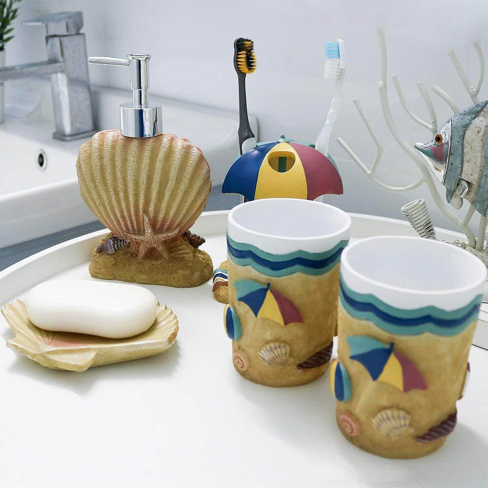 5 pièces Creative bord de mer style hawaïen salle de bain bouteille bain de bouche tasse porte-brosse à dents boîte à savon brosse à dents tasse salle de bain ensembles - 2