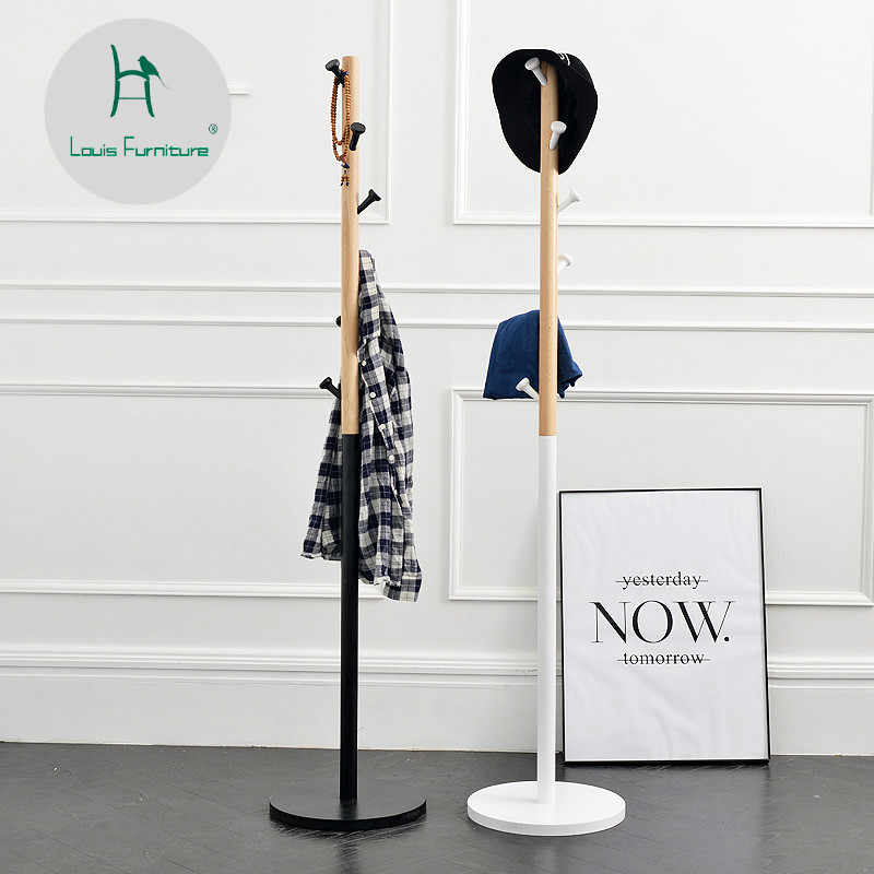 Louis Fashion Wooden Hat Coat Hanger Landing Bedroom Simple Household Hanging Floor Type Living Room Lobby Clothes Rack