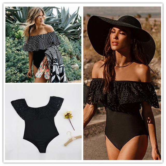 f6ed1d054fe 2017 Black Lace Flounce Off Shoulder Swimsuit Women Sexy Bodysuit Monokini  Swimwear Ruffle One Piece Swimsuit