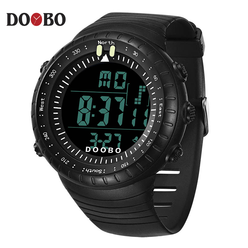 DOOBO Brand Men's Watches LED Digital Watch Men Wrist Watch Black Alarm 50m Waterproof Sport Watches For Men Relogio Masculino zgo high quality resin sport watch men 50m water resistant 1 year warranty white black golden sport wrist watch