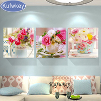 Diamond Embroidery Triptych Pink Flowers Home Decoration Whole Diamond Mosaic Square Drill Needlework Diamond Painting 3