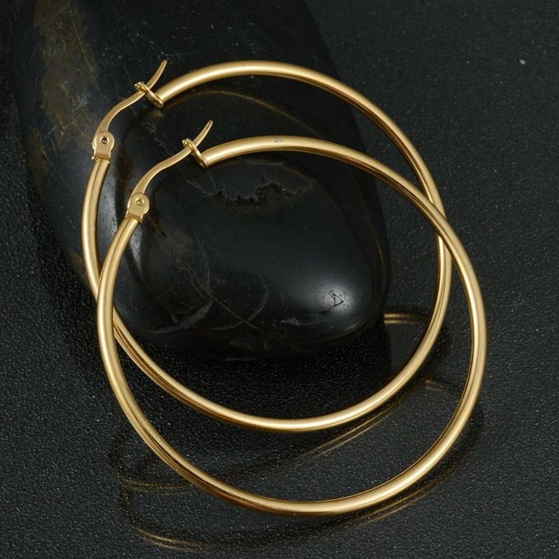 Hot Sale Hoop Earrings Big Smooth Circle Earrings Basketball 316L Stainless Steel Loop Earrings 4 Sizes Can Mix