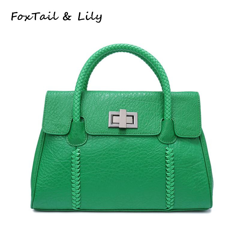 FoxTail   Lily Fashion Woven Top-Handle Bags Women Genuine Leather Designer  Handbags High Quality fb836ff17d