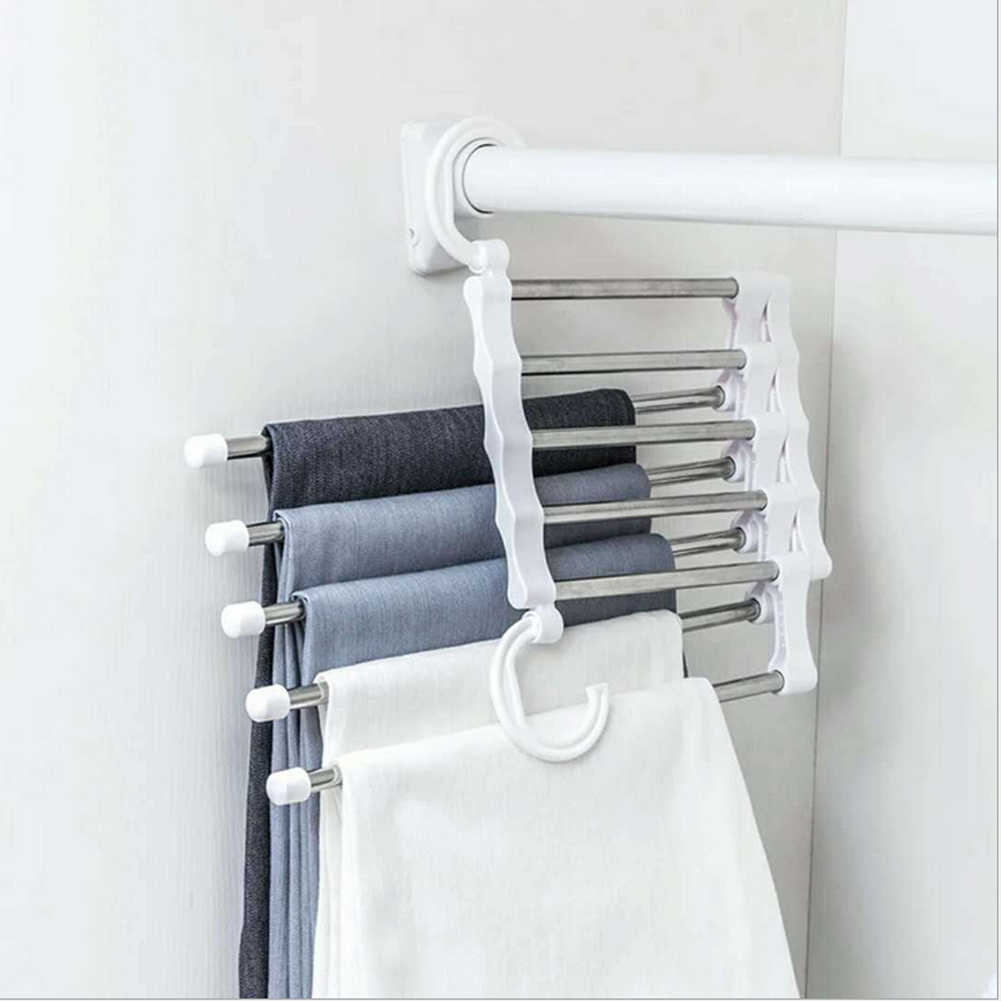 Newest 5 in1 Clothes Rack Multi-functional Pants rack shelves Space Safer Stainless Steel Wardrobe Magic Hanger