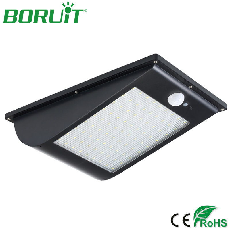 BORUiT 81 SMD2835 LEDs Solar Lamp Motion Sensor Light Sensor Wall Light Outdoor Park Path LED Solar Street Lamp for Garden Yard ds 360 solar sensor led light black