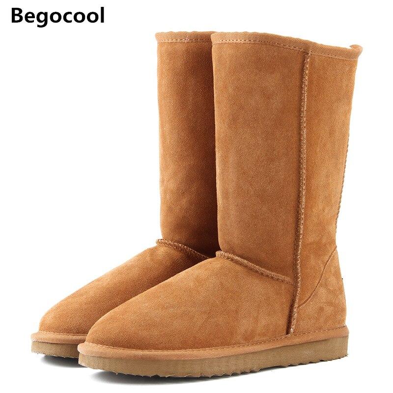 Begocool Мех животных Зимние ботинки женщин 2017 высокое качество ботинки в австралийском стиле и пуговицы зимние сапоги для женщин теплые женские сапоги Размеры США 4-13