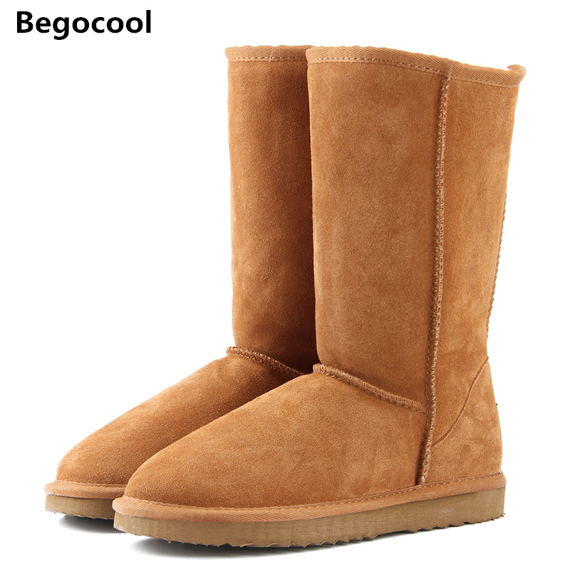 Begocool Fur Snow boots women 2017 Top High quality Australia Boots Button Winter Boots for women Warm Botas Mujer Size US 4-13 2017 women s winter boots australia classic mini camouflage pattern ugs snow boots warm leather ankle boots brand ivg size 4 13