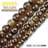 China Tibetan Dzi Eyes Beads Natural Agate Stone Buddhism Round Loose Beads Ball 8 10 12MM