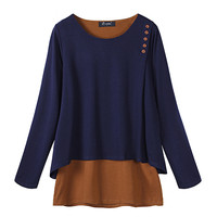 Women Casual Loose Pullovers 2017 Ladies Long Sleeve O Neck Blusas Shirts Brief Fake Two Piece