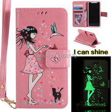 Tinkerbell Girl Wallet Leather Pouch Case For Samsung Galaxy NOTE8 NOTE 8 Glow in dakr Lumious Strap Cell Phone Skin Cover 40pcs