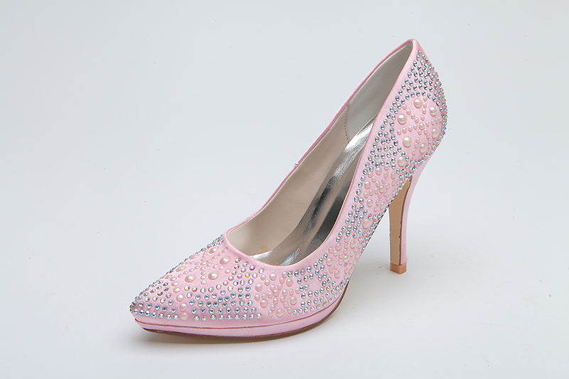 sparkly pink bridal wedding shoes 10 3 cm high heel