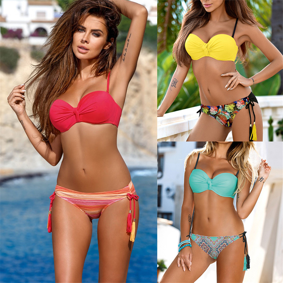a5a42c0fbb7e7 Sexy Bikini Set Women Swimsuit Push Up plus size Swimwear 2019 Solid  Bandage Halter Bikinis Bathing