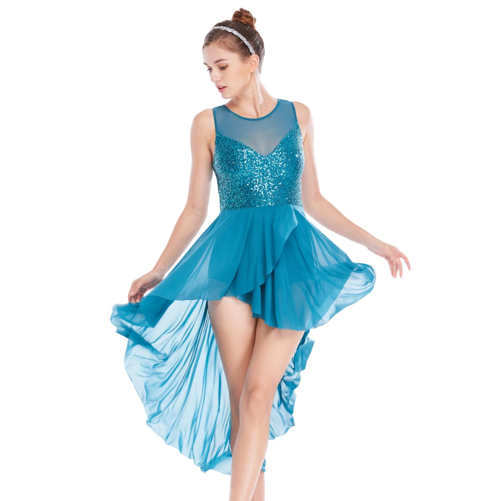 Adult Women Contemporary Lyrical Dance Costume Ballet Performance Outfit Dress